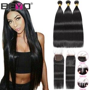 Image 1 - Beyo הודי ישר שיער חבילות עם סגירת 3 חבילות עם סגירת ללא רמי שיער טבעי חבילות עם סגירת הארכת שיער