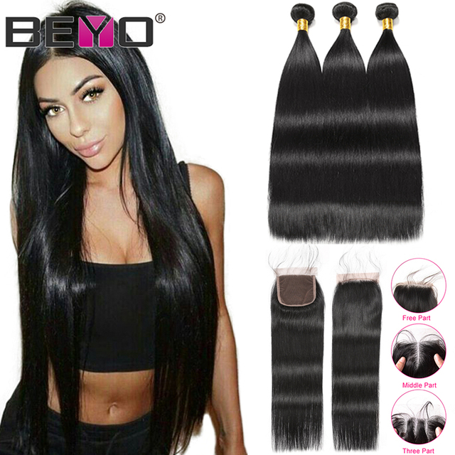 Beyo הודי ישר שיער חבילות עם סגירת 3 חבילות עם סגירת ללא רמי שיער טבעי חבילות עם סגירת הארכת שיער
