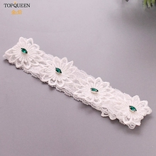 TOPQUEEN Wedding Garters Lace Embroidery Floral Sexy Garters for Women/bride Green Rhinestone Bridal Garters for Women TH27G high quality openwork lace black spandex corsets garters for women