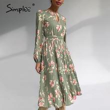 Simplee-elegante Vestido largo con estampado de flores para mujer, Vestido de manga larga con cuello redondo de volantes para vacaciones, vestidos de cintura media para Otoño e Invierno