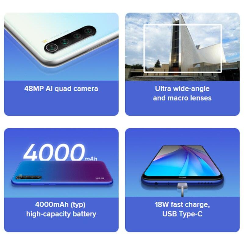"""Глобальная версия Xiaomi Редми Примечание 8Т 8 Т 4 ГБ 64 ГБ смартфон NFC процессор Snapdragon 665 восьмиядерный 48MP квада камера заднего 6.3"""" 4000мАч"""