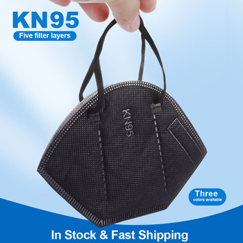 Black KN95 Face Mask Mascarillas 95% Filtration 5-lay Breathable fast delivery air pollution carbon filter Anti-dust Mouth Masks