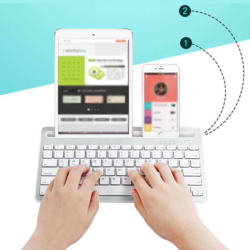 Multi-Device Bluetooth Keyboard Portable Phone Pad Holder Mini Keyboard for Windows for Android Built-in holder design image