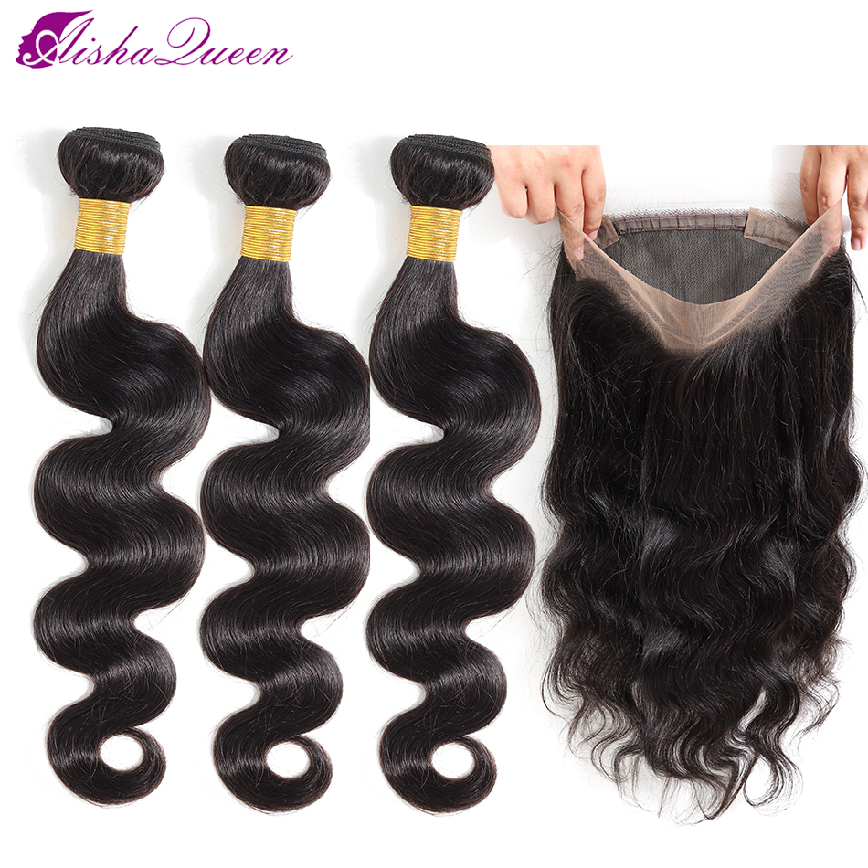Aisha Queen Brazilian Hair Weave Bundles Body Wave Bundles With 360 Lace Frontal Closure Human Hair Bundle Non-Remy Hair