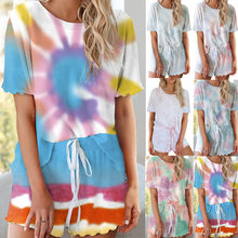 Girl's Tie-dyed Short-sleeved Sport Suit Women's Knitted Round Collar Pullover Summer Breathable Home Clothes Running Suit(China)