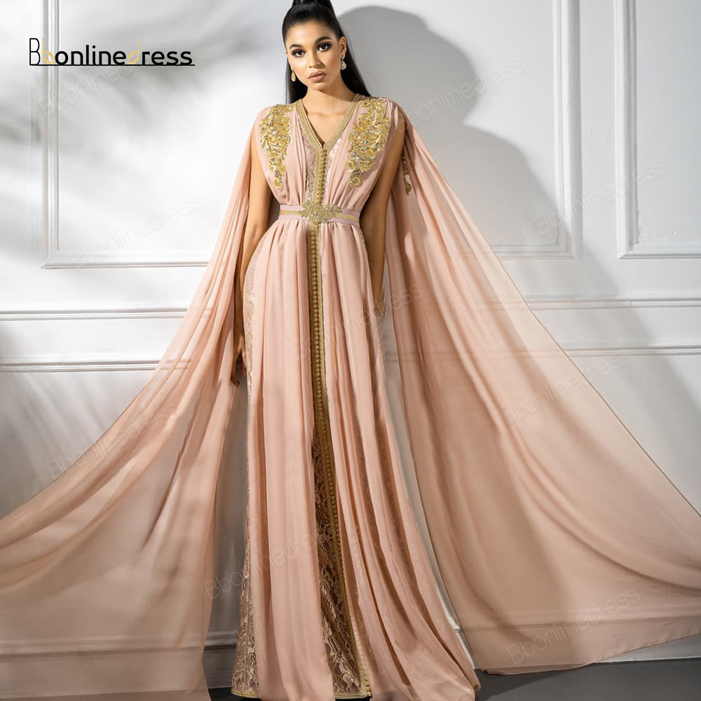Bbonlinedress Moroccan Kaftan Evening Dresses Embroidery Appliques Long Evening Dress Arabic Party-Dress Abaya Formal Gowns