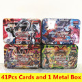 Yu gi oh 41 pçs/set jogos não repetindo anime estilo cartões jogo coleção cartões com brinquedos crianças presentes de natal com caixa de metal