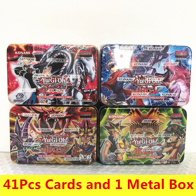 Yu Gi Oh 41pcs/set Games Not Repeating Anime Style Cards Game Collection Cards With Toys Kids Christmas Gifts With Metal Box
