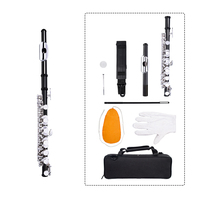 NAOMI Piccolo Key of C 2 Piece with Case Cleaning Rod Cloth and Gloves Cupronickel Piccolo Silver Color