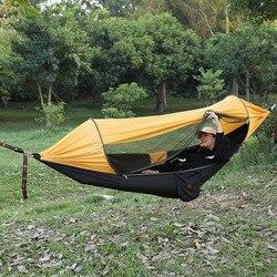 Hamaca de tela de paracaídas más función sombrilla defensa Mosquito al aire libre campo columpio apertura rápida tienda suspendida