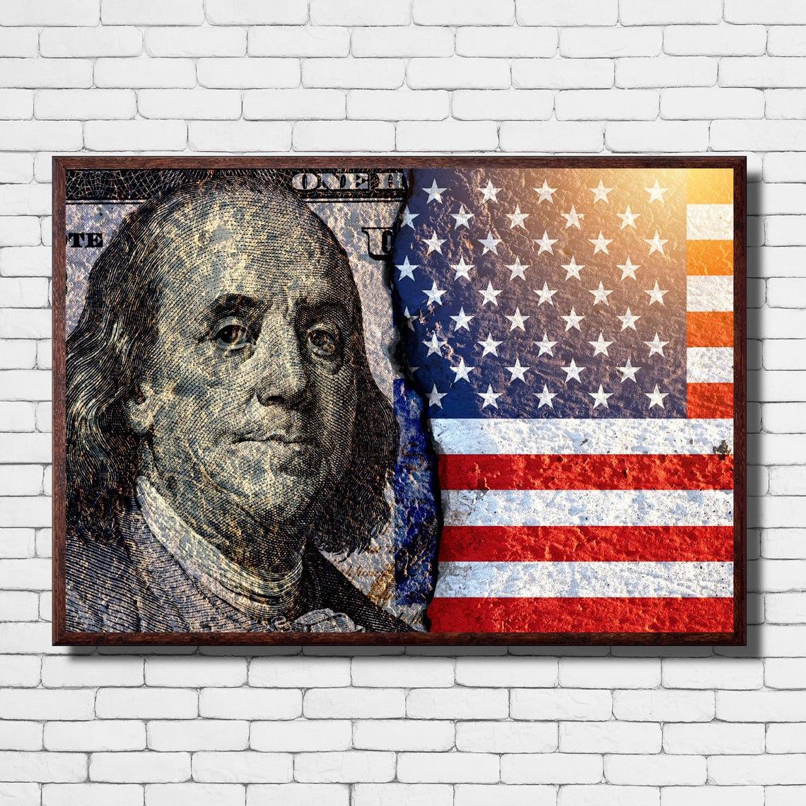 United States of America Flag Vintage Canvas Print Decorative Wall Art Modern