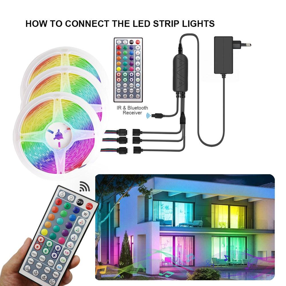 RGB Светодиодная лента SMD5050 12 В постоянного тока, 5/10/15 м, Гибкая полоса, Bluetooth, музыкальный контроллер с пультом ДУ на 44 кнопки для деокуляции в ...