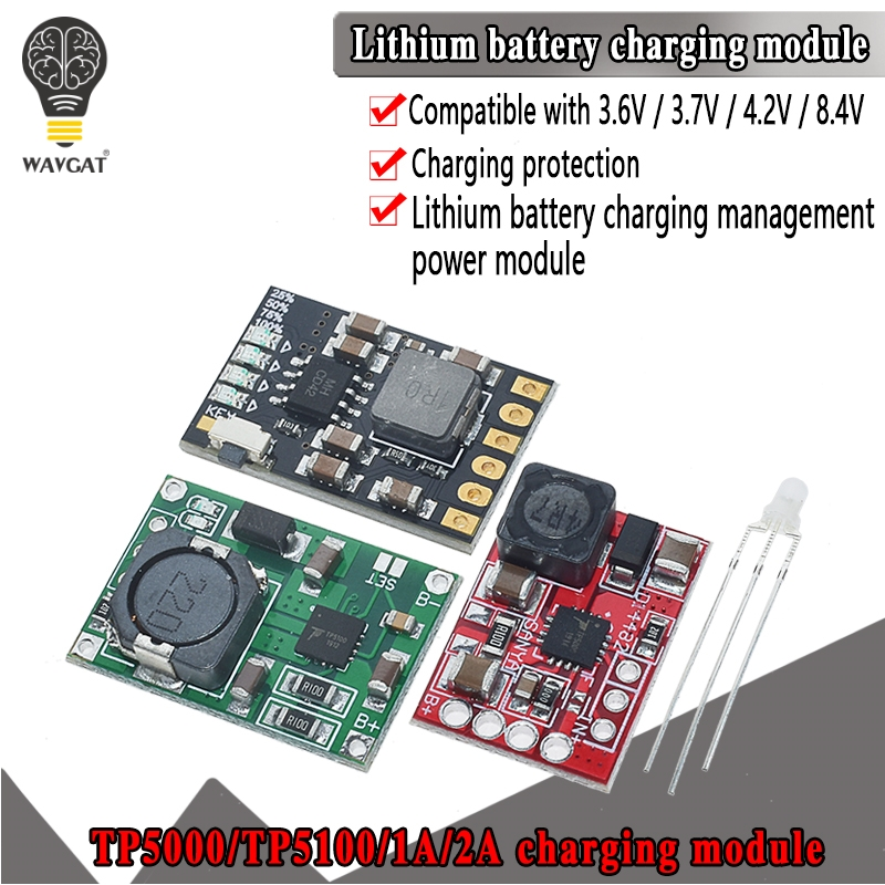 TP5100 charging management power supply module board TP5000 1A 2A compatible with 4.2V 8.4V single and double lithium batteries
