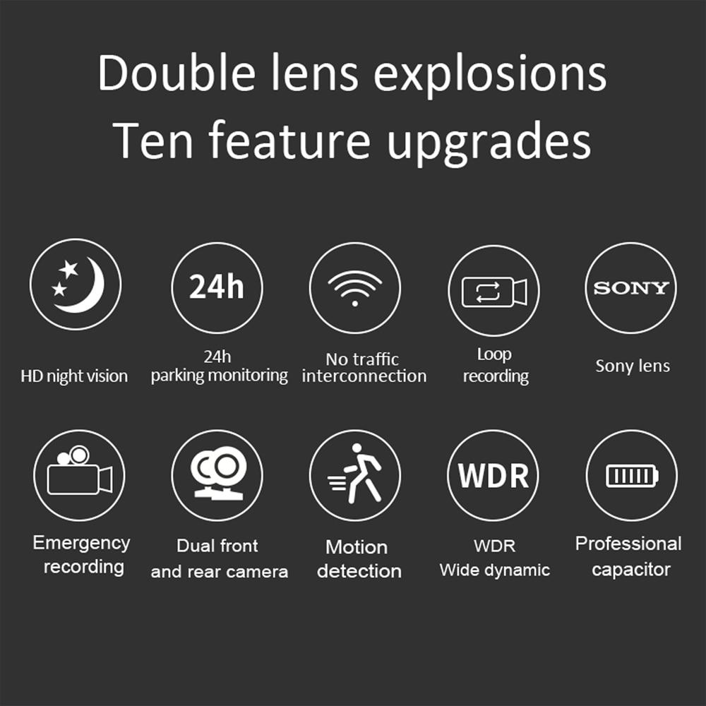 Aiba J07 gps WDR Автомобильный видеорегистратор камера Full HD 1080P двойной объектив видео рекордер 170 широкоугольный g-сенсор sony двойная dvr авторегист...