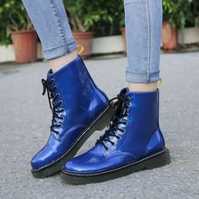 women boots lace up ankle platform round toe pu leather vintage shoes autumn new plus size casual woman booties c04