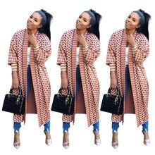 2019 Otoño Invierno Plaid Poncho abrigo estampado manga larga Mujer Maxi largo abrigo al aire libre ropa Trench Vintage cárdigan sobretodo