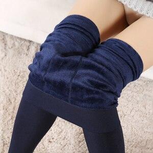 Image 4 - Mallas de punto de terciopelo para mujer, Leggings informales, elásticos, gruesos, negro cálido, pantalones pitillo, para invierno