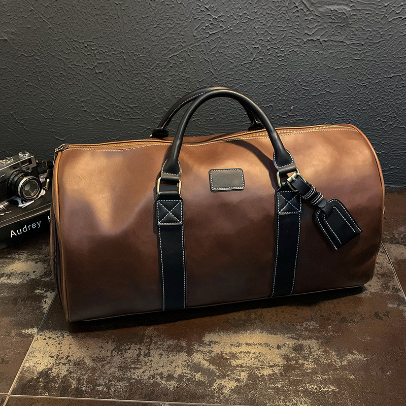 Leisure Trend Travel Bags Men's Handbags Leather Large Capacity Short-distance Business Trips