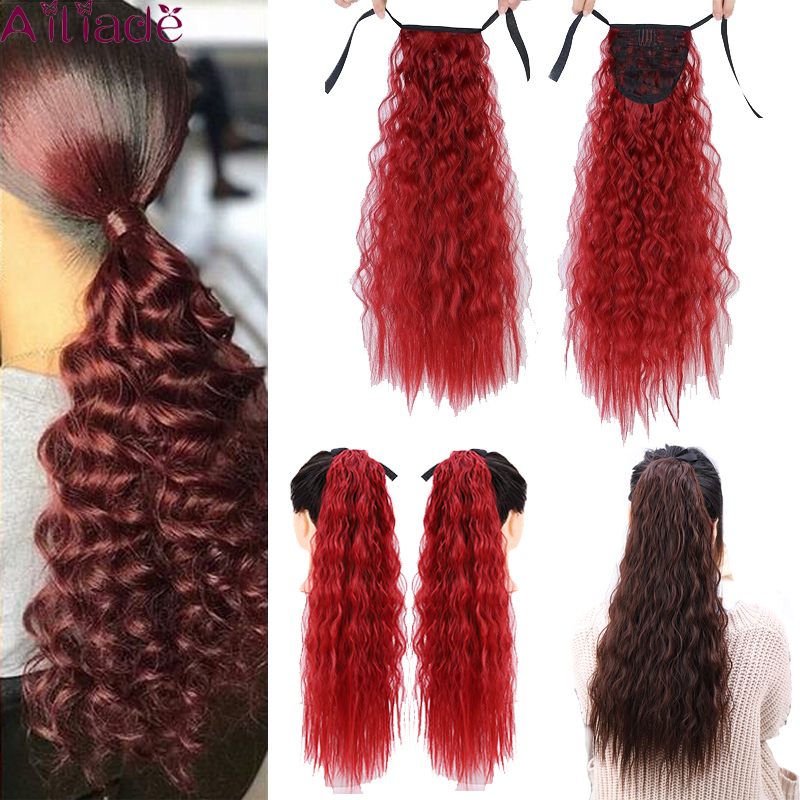 AILIADE Red Long Curly Synthetic Drawstring Clip Ponytail Hair Extensions High Temperature Fiber Hairpieces For Women 22inch
