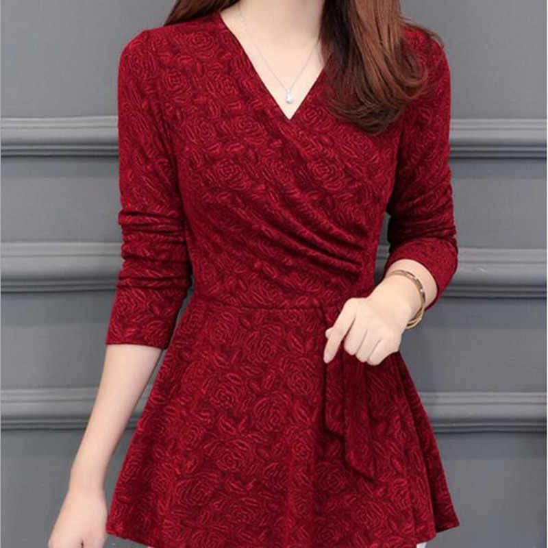 Autumn Winter Basic Shirts Blouses Hot Women Fashion Long Sleeve V Neck Tops Black Red Green Purple Belly Peplum Top Blouse N171