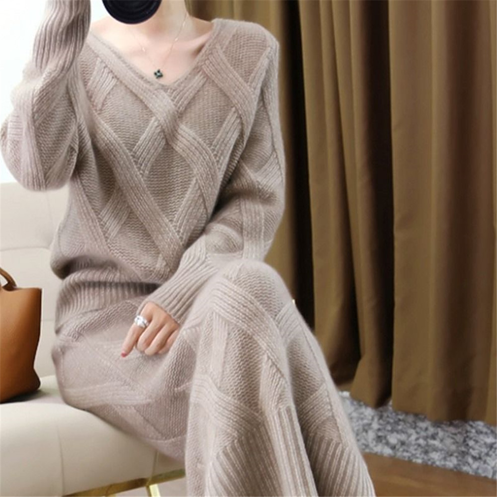 New 2019 Winter Knitted Womans Suits Thick Loose Sweater + Pencil Skirts Sets For Woman Casual Ladies Two-pieces Suit Quality