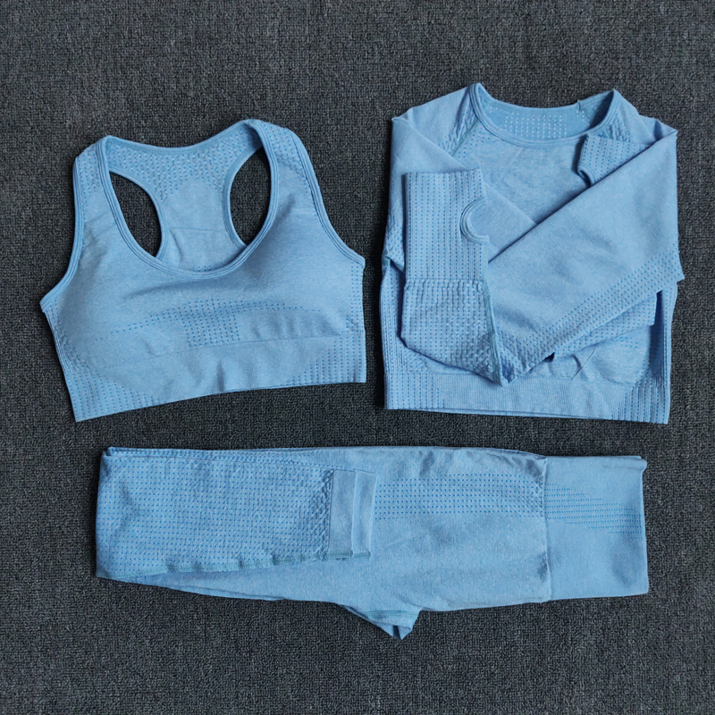 3pcsSetBlue - Women Seamless Yoga Set Fitness Sports Suits