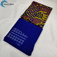 Alisa New Arrival 2+3yards African Lace Fabric Sets 100% Cotton Swiss Lace Fabric 2019 Dutch Wax Fabric Real Wax For Women Dress