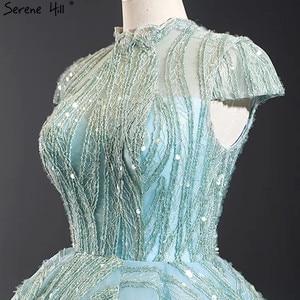 Image 5 - Czysta woda niebieski z krótkim rękawem Plus rozmiar suknie ślubne 2020 koronki cekinami wysoki kołnierz suknie ślubne projekt prawdziwe zdjęcie BHM66981