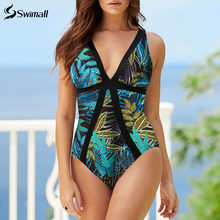 Vintage One Piece Swimsuit 2020 Baru Leher V Baju Renang Wanita Backless Cetak Monokini Push Up Baju Baju Renang Wanita(China)