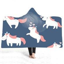 Cartoon Cute Hooded Blanket Unicorn Printed Plush For Adults And Childs Sherpa Fleece Warm Throw Home Sofa