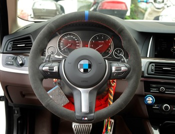 OLPAY Black Suede Car Steering Wheel Cover for BMW F87 M2 F80 M3 F82 M4 M5 F12 F13 M6 F85 X5 M F86 X6 M F33 F30 M Sport