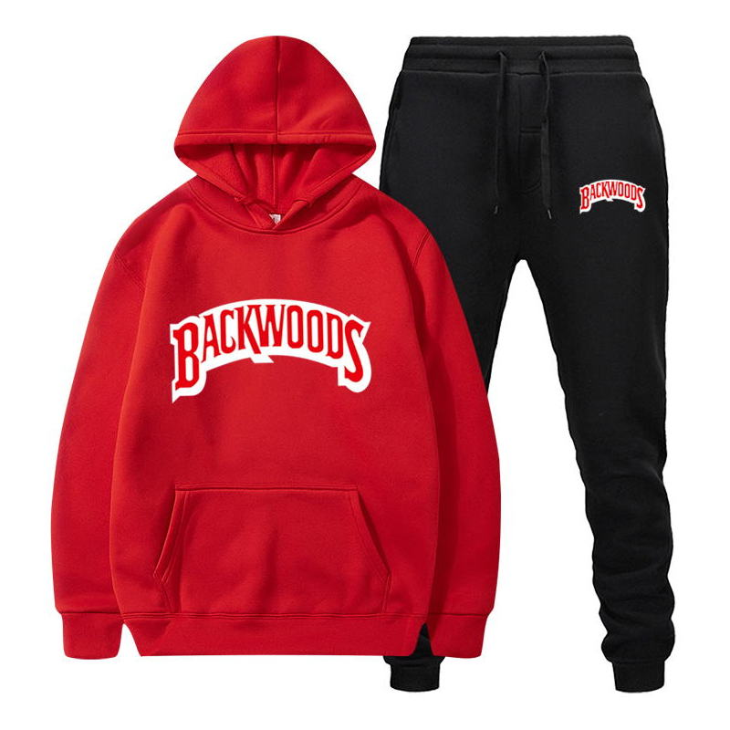 fashion brand Backwoods Men's Set Fleece Hoodie Pant Thick Warm Tracksuit Sportswear Hooded Track Suits Male Sweatsuit Tracksuit 4