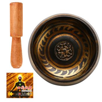 Tybetańska misa dźwiękowa buddyzm medytacja dzwon ręcznie młotkiem buddyjski mosiądz miska joga miedź uzdrowienie chakra duchowy prezent tanie i dobre opinie Buddhism Singing Bowl 180g