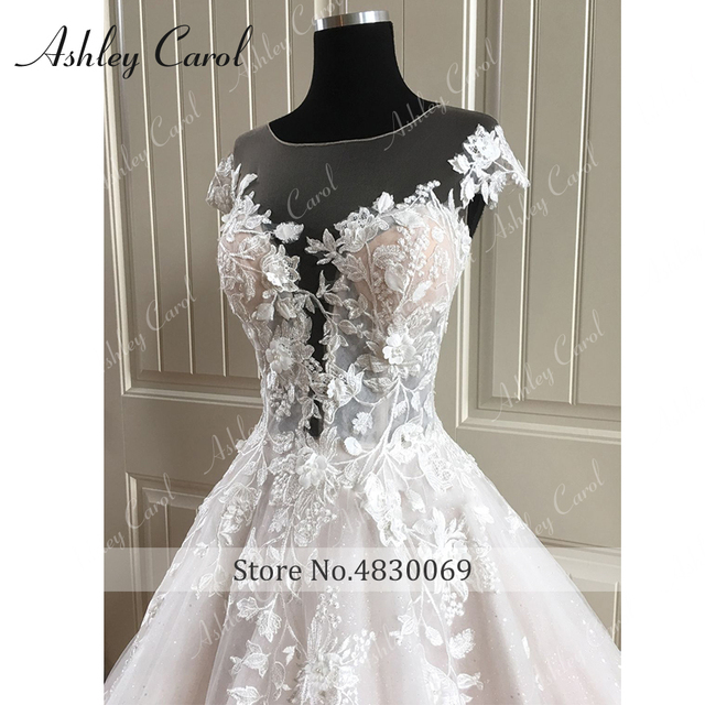 Ashley Carol A-Line Wedding Dress 2021 Backless Off the Shoulder Beaded Lace Appliques Princess Bride Dresses Beach Bridal Gown 4