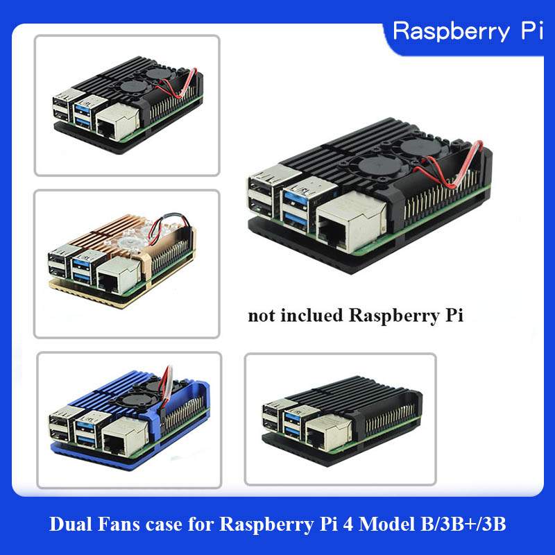 Dual Fans Raspberry Pi 4 Model B/3B+/3B 4 Color Aluminum Metal Case With Super Two Cooling Fan +Heat Sinks For Raspberry Pi 4/3