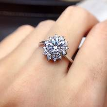 shilovem 925 sterling silver Moissanite Diamond rings women classic wedding plant new ring gift vvs 1ct 6.5mm mj6.56.5049agsz(China)