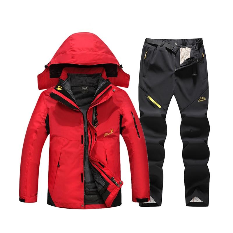 2019 New Ski Suit Men Winter Thick Warm Ski Jackets Outdoor Windproof Waterproof Ski Snowboard Jacket Pants Suit Plus Size 6XL