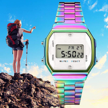 2019 QW Olahraga Fashion QUARTZ Jam Warna LED Stainless Steel Wanita Pria Tahan Air Olahraga Jam Tangan Digital(China)