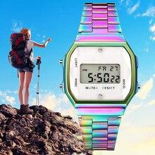 2019 QW Sports mode Quartz couleur horloge Led en acier inoxydable femmes hommes étanche Sport numérique montres