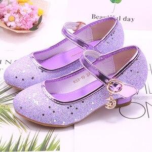 Image 3 - Children Princess Shoes student dance shoes for Girls High Heel Sandals Dress Purple Kids Leather Glitter Crystal Shoes Banquet