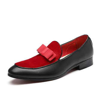 Men Formal Shoes Bowknot Wedding Dress Male Flats Gentlemen Casual Slip on Shoes Black Patent Leather Red Suede Loafers c g n p casual shoes men genuine leather loafers handmade office formal wedding shoes men dress shoes slip on mens loafer shoes
