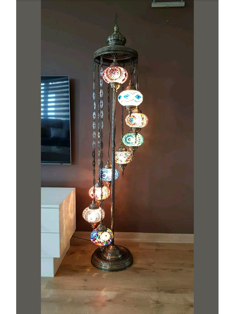 Free Shipping Unique Turkish Handmade 9 Ball Mosaic Floor Lamp