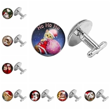 2019 Christmas Gifts Cat Pattern Cufflinks Glass Dome Preselection
