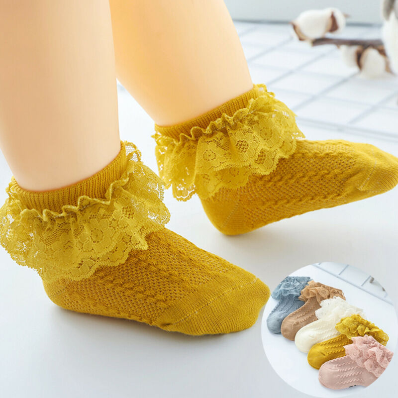 Baby Girl Children Toddler Cotton Ankle Socks Frilly Trim Lace Short Stocking