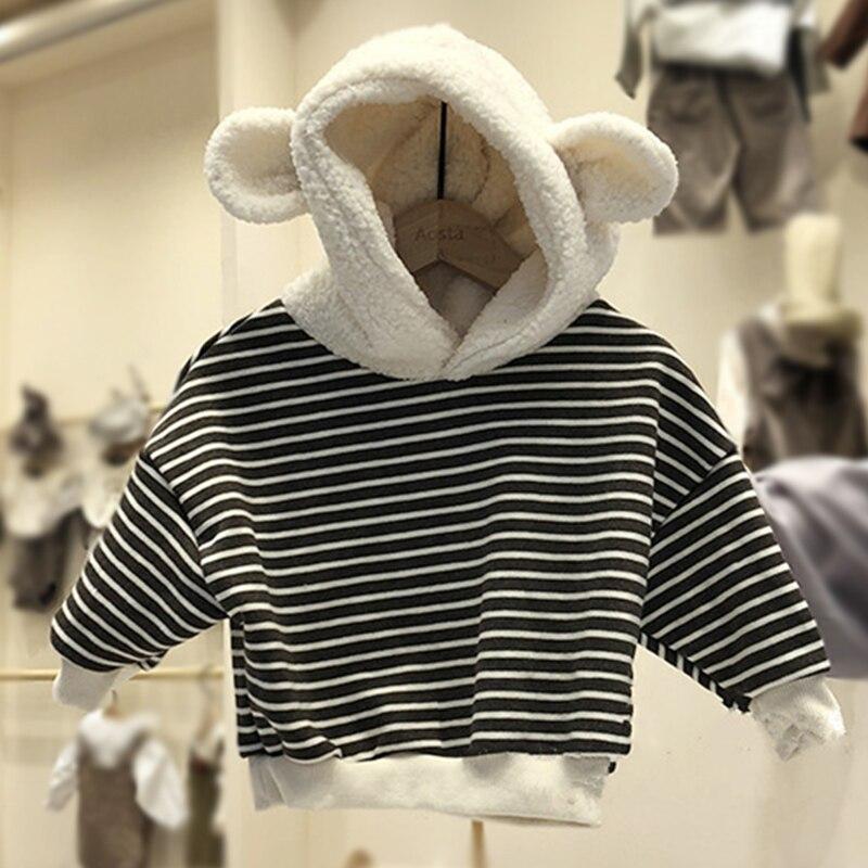 Hoodie Velvet Winter Autumn Cute Cartoon And Plus Fleece Sweater-Stay Animal Ear-Shape