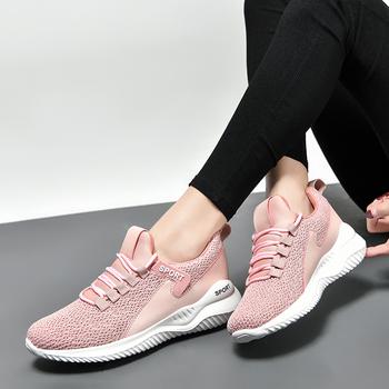Damskie oddychające buty do tenisa 2021 jesień płaska siatka buty różowe sportowe buty Tenis Feminino damskie buty trampki damskie tanie i dobre opinie WCBOD CN (pochodzenie) WOMEN oddychająca light Mocne Zamknięte lekka waga w stylu butów do tenisa Ekstra wąska (AAA+)