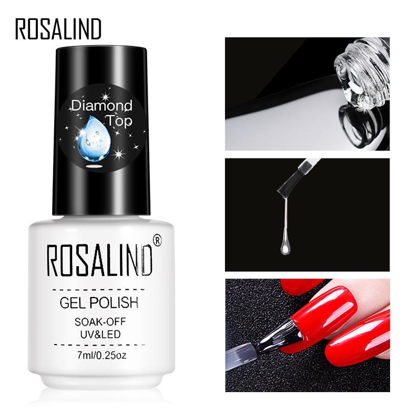 ROSALIND Diamond Gel Polish Top Coat UV Lamp Gel Soak Off Reinforce 7ml Long Lasting Nail Art Manicure Gel Lak Varnish Primer