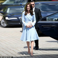 Princess Kate Middleton UK Runway 2020 Spring And Autumn New Cotton And Linen Sky Blue Windbreaker Jacket Slim Party Party Dress