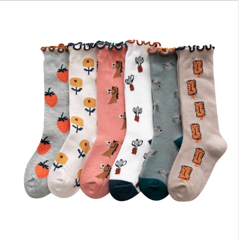 Winter Autumn Baby Girl Socks Knee High Bows Princess Socks Winter Baby Socks Long Printed Cute Fruit Pattern