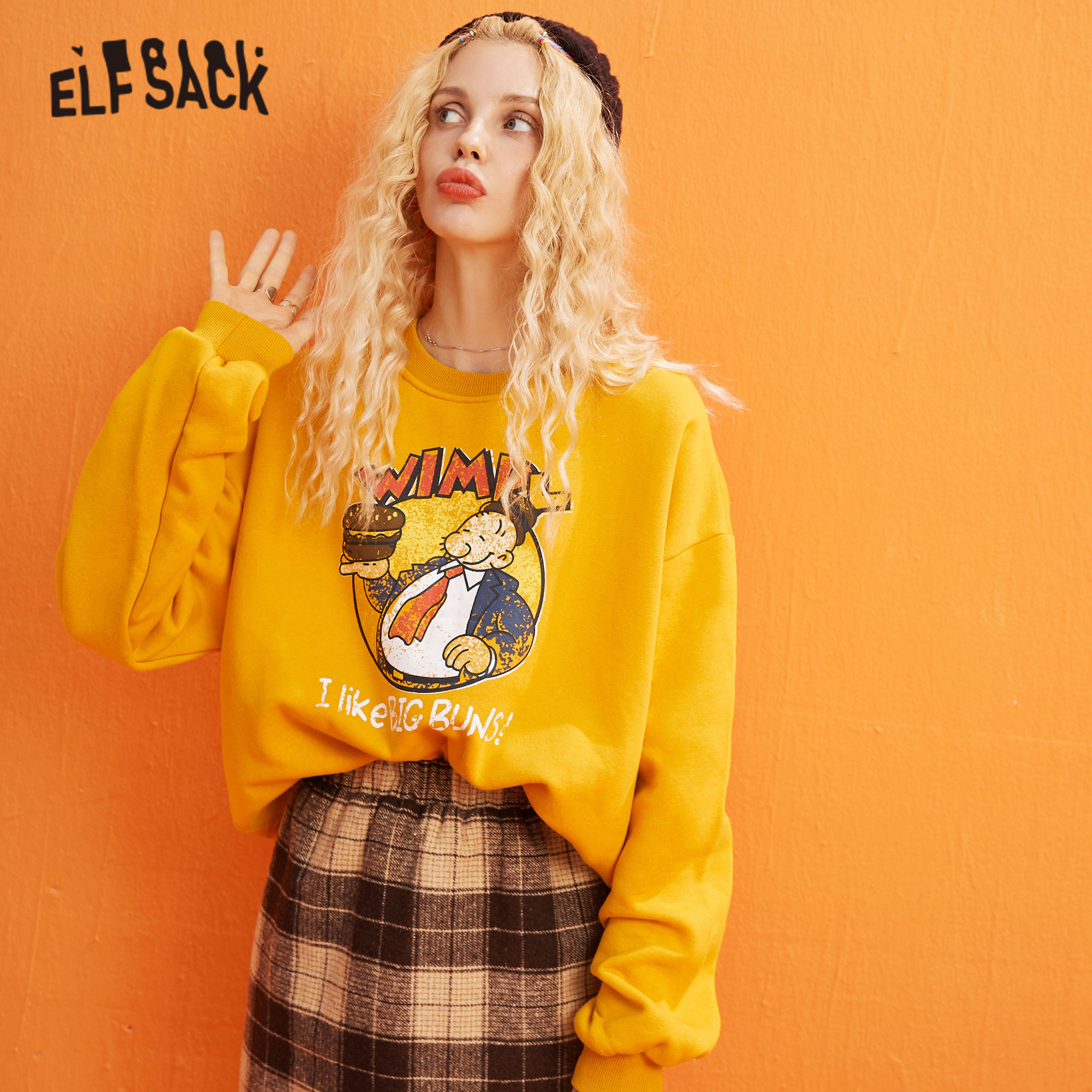 ELFSACK Yellow Cartoon Print Casual Pullover Sweatshirt Women Clothes 2020 Spring New Long Sleeve Ladies Korean Daily Work Tops